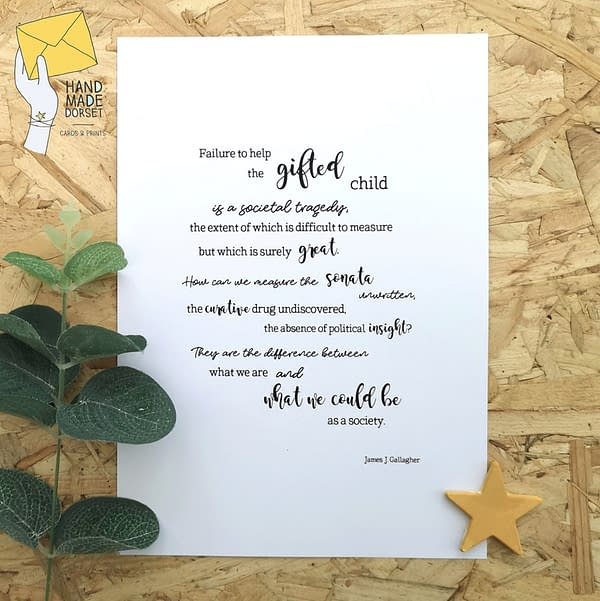 Gifted child quote print, gifted child print