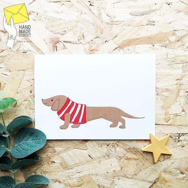 dacshund card, cute dacshund