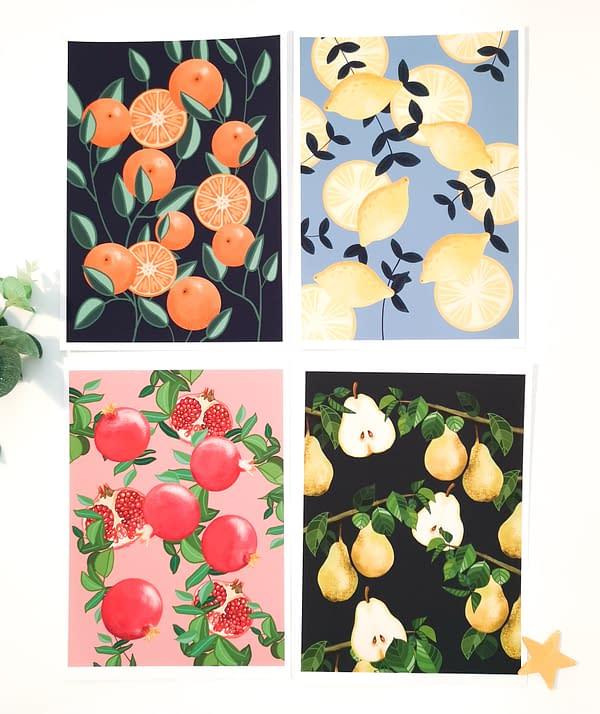 Clementine print, botanical fruit print