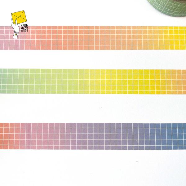 Rainbow grid washi tape, grid rainbow washi