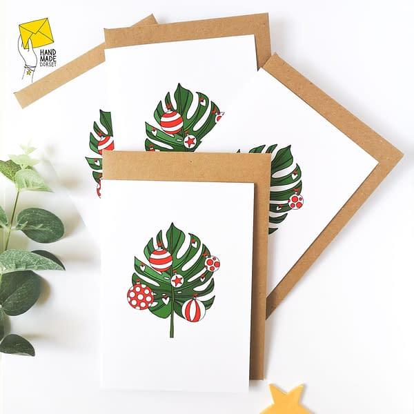 Christmas cards pack, monstera christmas card