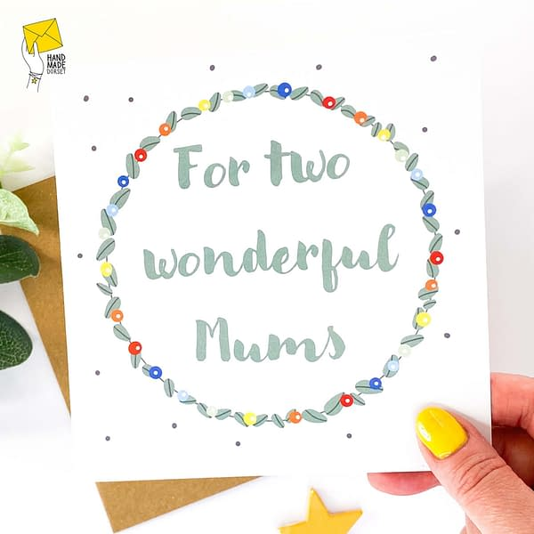 Two Mums mothers day card, card for my two mums