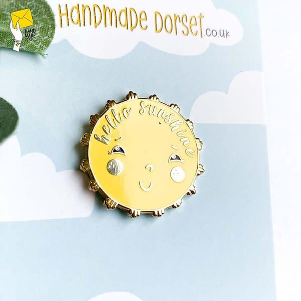 Hello sunshine enamel pin, positivity pin