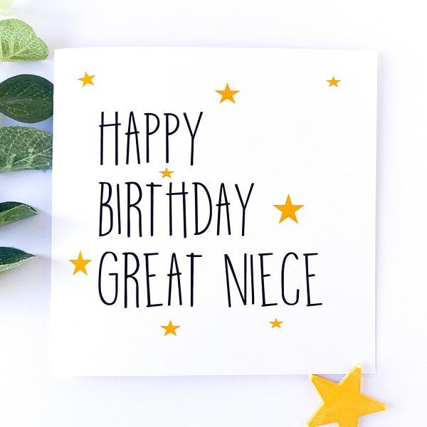 Great niece birthday card, birthday card for great niece