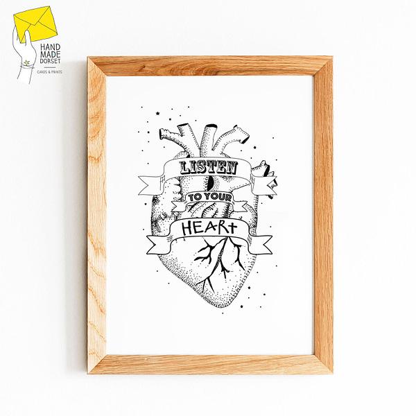 Heart print, tattoo heart print