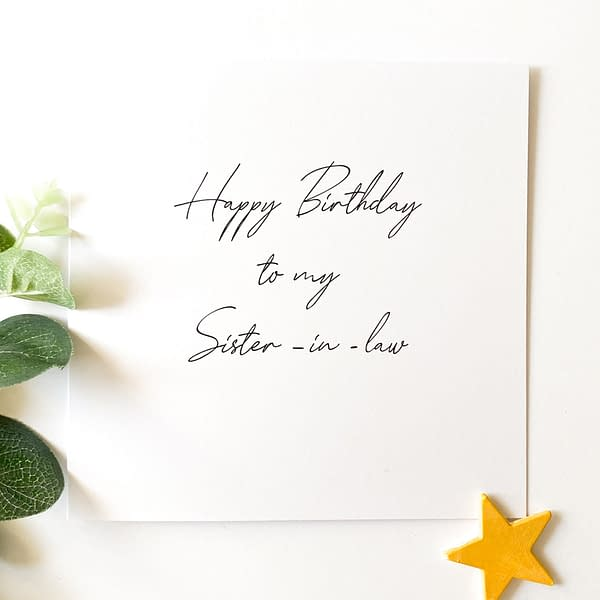 Sister-in-law card, card for Sister in law