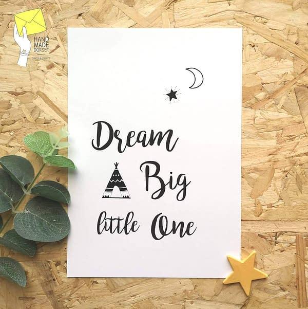 Dream big print, children's print