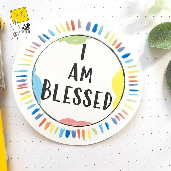 I am blessed sticker, rainbow blessed sticker