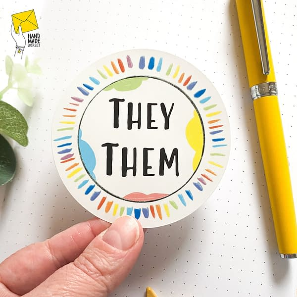 They them pronoun sticker, sticker for they/them