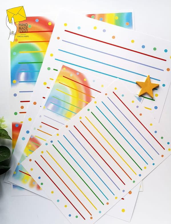 Rainbow writing paper, rainbow paper set
