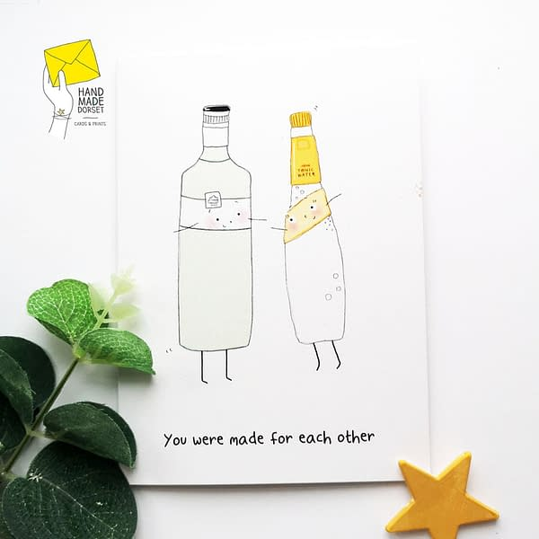 Gin and tonic card, gin valentines card