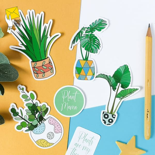 House plants sticker pack, plant stickers
