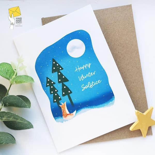 Solstice card, winter solstice card