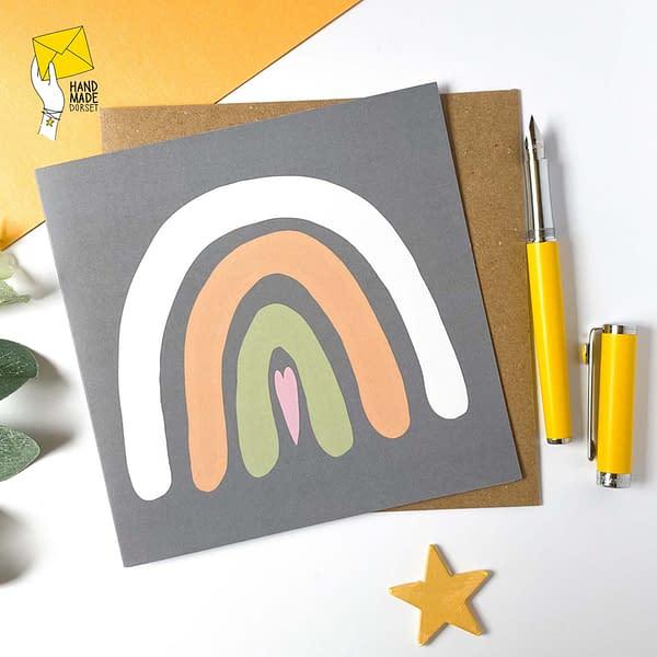 Grey and peach rainbow card, blank cards