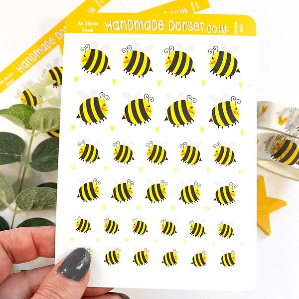 Bee stickers, bee sticker sheet