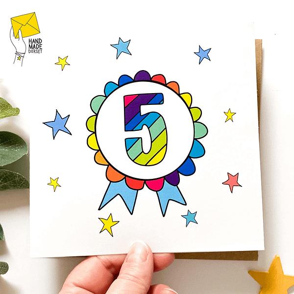 5 Birthday card, birthday card with 5 on
