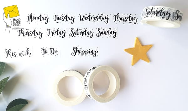 Days of the week washi tape, planner days tape
