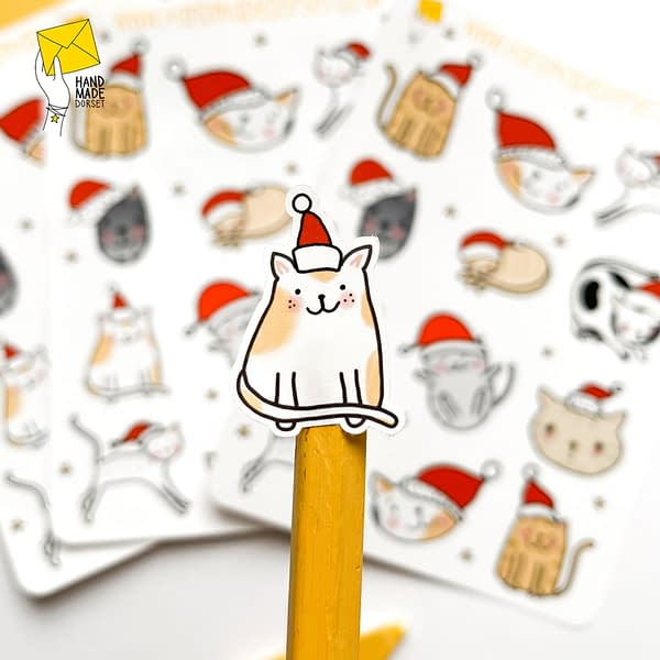 Cat Christmas stickers, kitty cat stickers