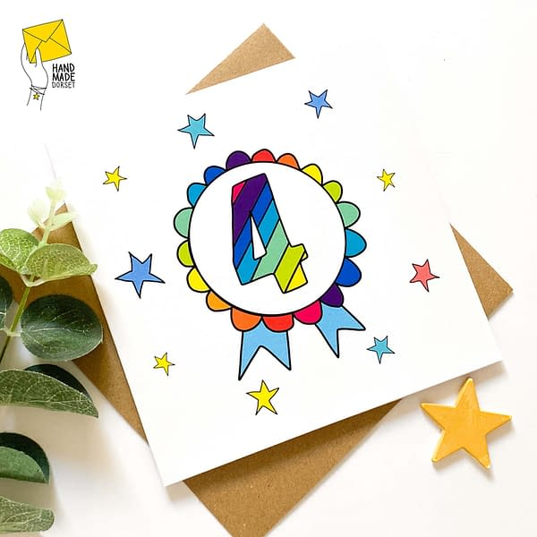 4th Birthday card, birthday card with 4 on