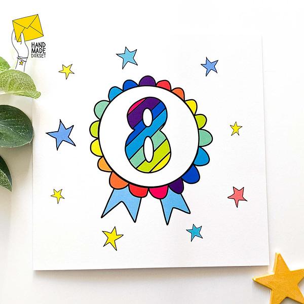 8 Birthday card, birthday card with 8 on