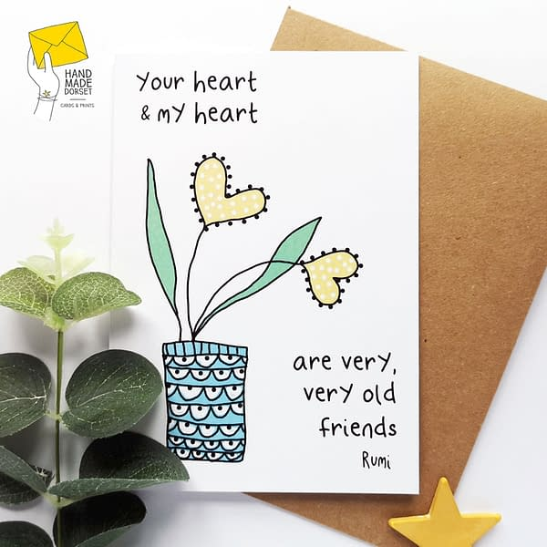 Old friends card, Rumi quote card