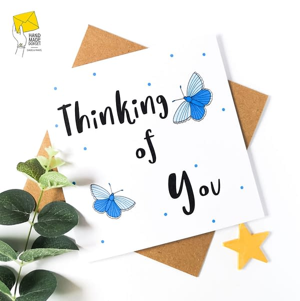 Thinking of you card, sympathy butterfly card