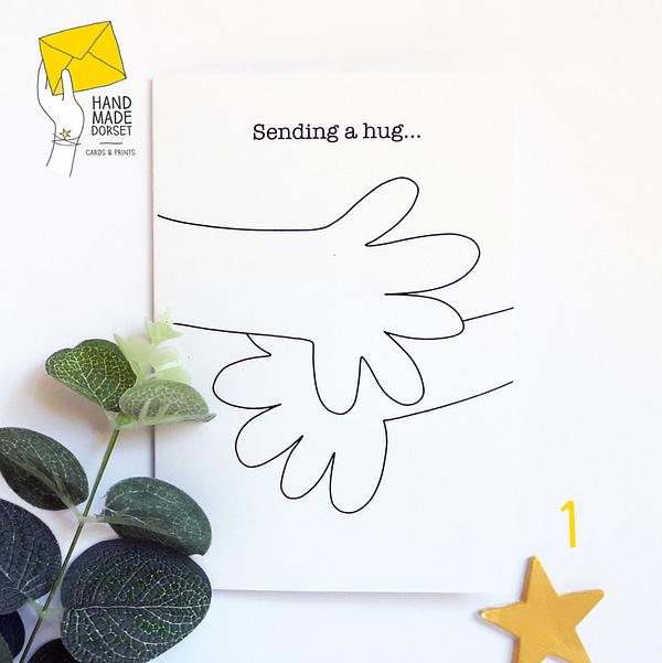 Sending a hug card, card to send a hug, isolation card